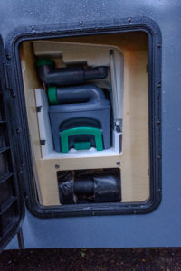 The outside hatch to access the cassette and water fill for the Mantis toilet