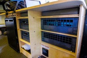 Mantis storage under the passenger-side counter