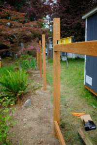 A crossbeam between two posts, a level on top to check angle