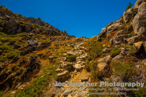 The final scramble from the sub-alpine meadows to the alpine basin