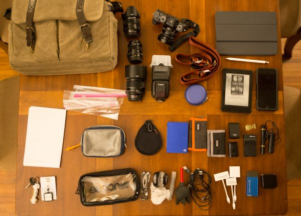 My daily commuter gear, laid out on a table