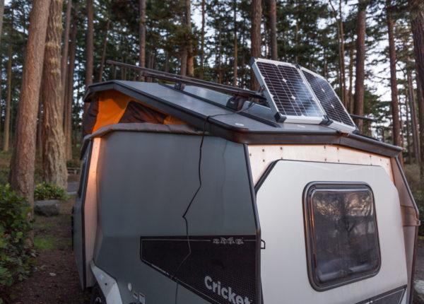 Portable 40 watt Zamp solar panel on the roof of the Cricket