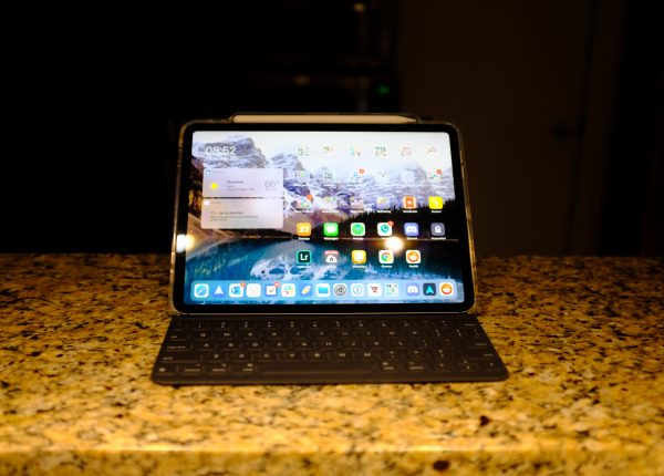 iPad Pro with a dark background