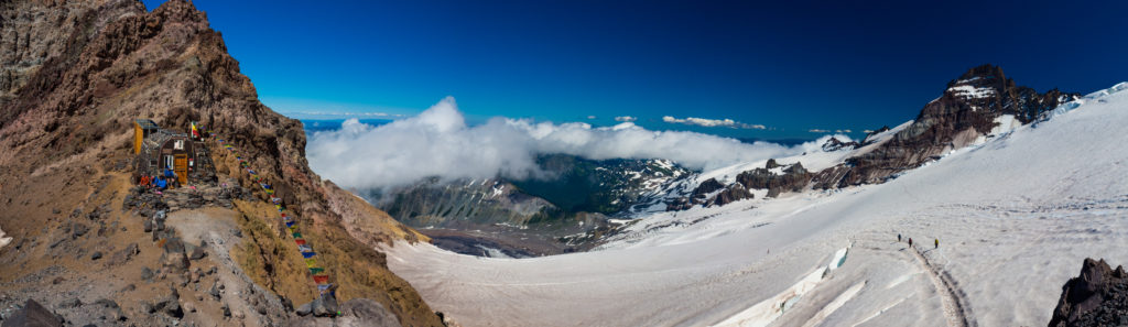 Panorama of Camp Schurman, the Emmons Glacier, and Little Tahoma