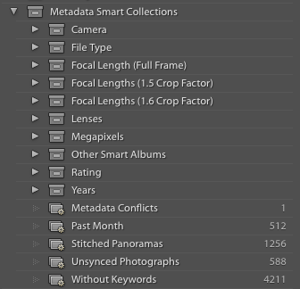 Image of some of my Smart Albums from Lightroom Classic