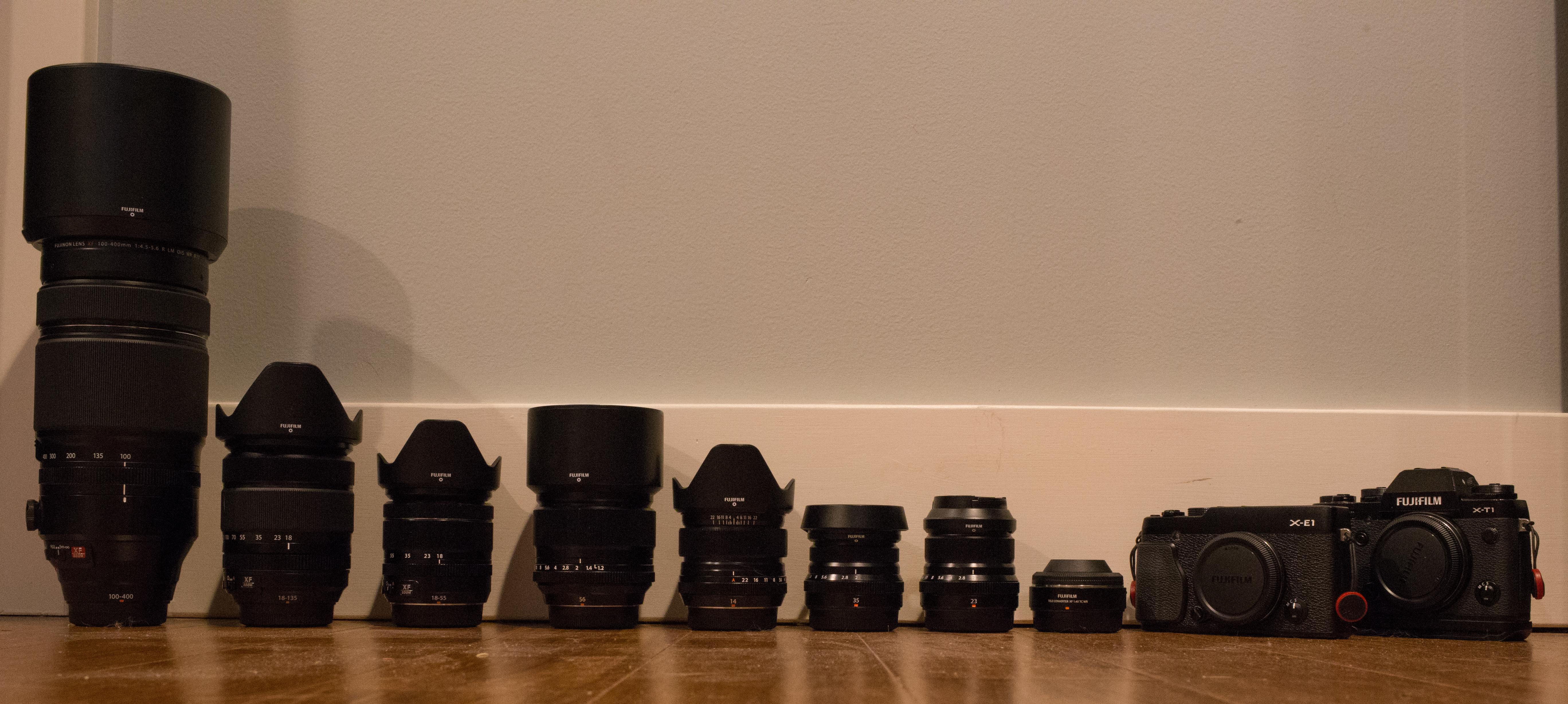 Fuji X-T1, X-E1, XF 14mm f/2.8, 23mm f/2, 35mm f/2, 56mm f/1.2, 18-55mm f/2.8-4, 18-135mm, 100-400mm